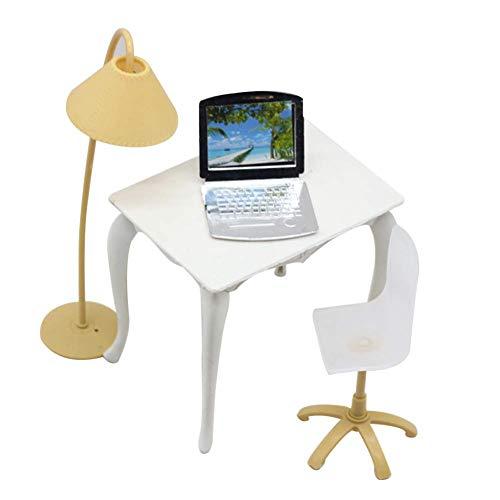 Vektenxi Schreibtisch Laptop Lampe Stuhl möbel zubehör für Puppe Baby Haus Kinder mädchen Spielzeug zufällige Farbe kreativ und nützlich