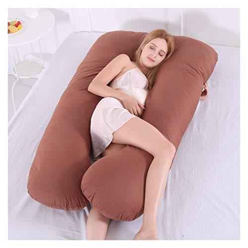 TYUXINSD Acogedor Almohada de Embarazo en Forma de U de Cuerpo Completo, Almohada de Soporte de Almohada de durmientes Laterales con Cubierta extraíble, Lavable 130 x 70 cm (Color : Brown)