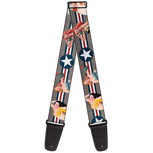Alça de guitarra Pin Up Girl Poses Close Up Star Stripes Cinza Azul Branco Vermelho 5 cm de largura