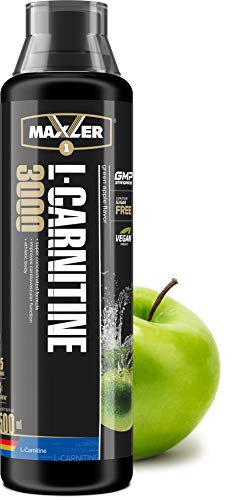 Maxler Veganes L-Carnitine 3000 Liquid - Hochdosiertes Diätetisches Getränk beliebt in Fettverbrennung-Diät, Definitionsphase - 3000mg von L-Carnitin pro Portion - Grünapfel - 500ml
