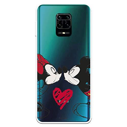 Funda para Xiaomi Redmi Note 9S - Note 9 Pro Oficial de Clásicos Disney Mickey y Minnie Beso para Proteger tu móvil. Carcasa para Xiaomi de Silicona Flexible con Licencia Oficial de Disney.