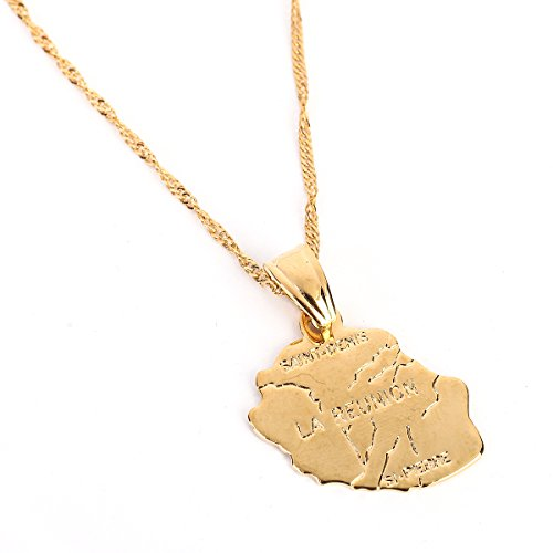 BR Gold Jewelry Collar Chapado en Oro con Colgante de Mapa de la Reunión Chapado en Oro, diseño de Mapa de la región de Francia