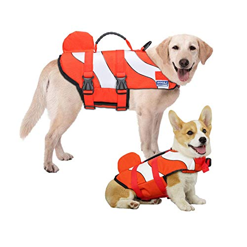 Chaleco salvavidas de flotación para perro, chaleco salvavidas ajustable, traje de baño para cachorros con asas para fácil rescate (peces payaso, mediano)