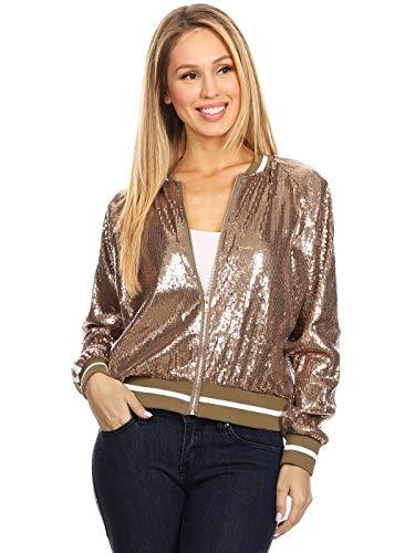 ANNA-KACI Womens Long Sleeve Front Zip Track Stripe Sequin Bomber Jacket, Bronze, Small