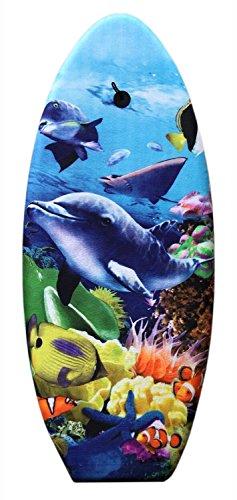 Idena 40467 - Schwimmbrett für Kinder, Bodyboard mit Halteleine und Stoffüberzug, Delfin, ca. 99 x 40 x 5 cm