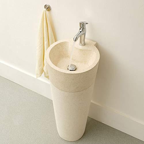 wohnfreuden Waschtisch Säule Terrazzo 45x45x90cm Standwaschbecken weiß