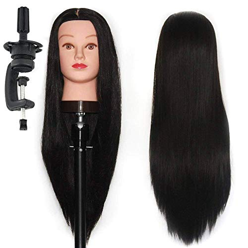 QKYPZO Hair Dummy For Hair Styling, Practice/Cutting With Stand Salon Mannequin For Hairstyle (Fore head to back Hair End)