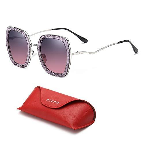 Gafas De Sol De Moda Polarizadas De La Vendimia para Las Mujeres Que Conducen Gafas De Sol 100% Protección UV Anti-Deslumbramiento con Caja De Gafas,Púrpura