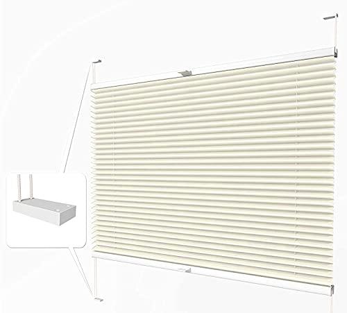 Home-Vision® Premium Plissee zum Anschrauben in der Glasleiste Innenrahmen (Creme, B45cm x H120cm) Blickdicht Plissee Jalousie mit Halterungen zum Bohren, Sonnenschutzrollo Rollo