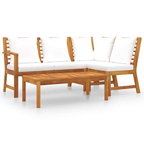 vidaXL Akazienholz Massiv Gartenmöbel 4-TLG. mit Auflagen Lounge Sitzgruppe Sofa Bank Gartenset Sitzgarnitur Mittelsofa Ecksofa Creme