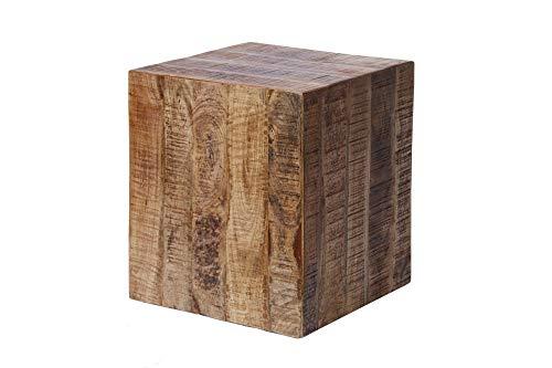 DuNord Design Tisch Würfel Holz Beistelltisch Natur 40cm Hocker Mango Massivholz