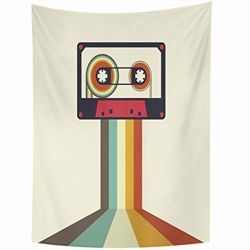 Onete Tapestry Wall Hanging 50x60 Inches Club Sound Cassette Retro Vintage Style Party Element Textures Fun Sign Stereo Object Audio Disco Tapestries Bedroom Living Room Dorm Home Decor Blanket Audio Cassette Label Template