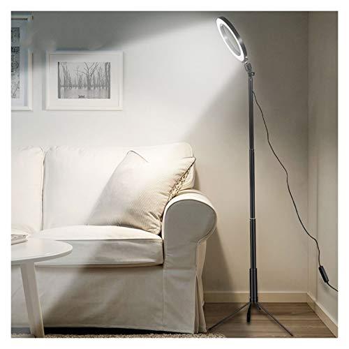 Lámpara de pie para escritorio, anillo de luz de suelo, trípode anular, lámpara de pie para vídeo, foto, pantalla de maquillaje (color del cuerpo: negro)