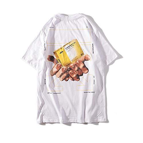 YX T-shirt pillendoos wit Off OW tweehandig ronde hals Flock mannen en vrouwen paar korte mouwen