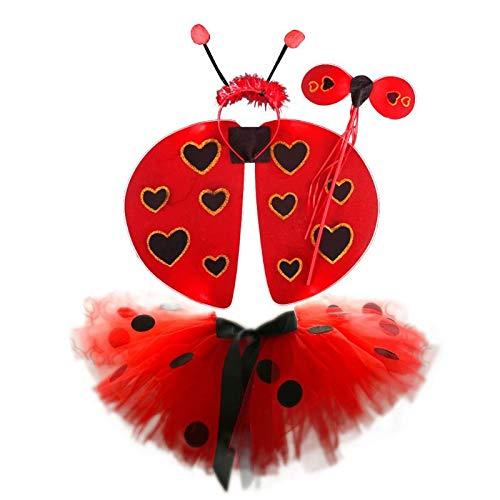 NINGYE Set de Disfraz de Mariquita niños, tutú, Falda, Varita y alas para Disfraz, para Halloween y Cosplay, poliéster, Rojo, Large