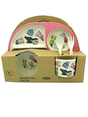 AMTBABY Vajilla Infantil de Bambu. Libre de BPA ecológico y Biodegradable. Apto para lavavajillas (Gato)
