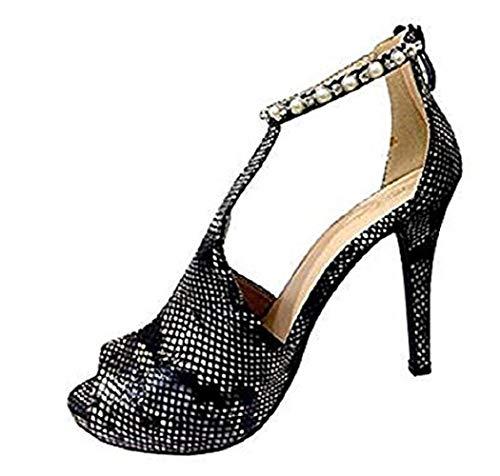 Scarpe - Sandali Decollete - Donna - Pitonate - Taglia 36 EU - Colore Nero - Idea Regalo Compleanno - Natale - Festa