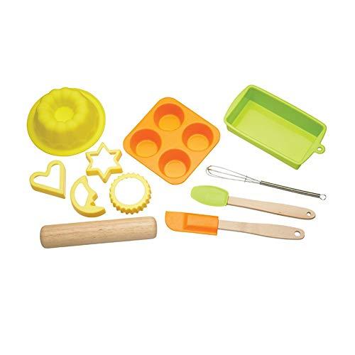 KitchenCraft Backset für Kinder mit Silikon-Backformen, Ausstechformen und Küchenzubehör