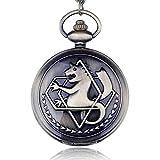 Vintage Fullmetal Alchemist Edward Elric Cosplay Reloj de Bolsillo Dull Polish Brown Hollow Reloj de Bolsillo de Cuarzo para Hombre-Bronce, b