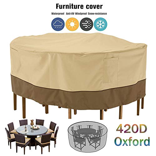 ZHAONI Round Waterproof Patio Furniture Covers, Furniture Set Covers Outdoor, Garden Table Covers with Windproof Drawstring 420D Oxford Furniture Cover Anti-UV, Snow Protection,239x58cm/8x2ft