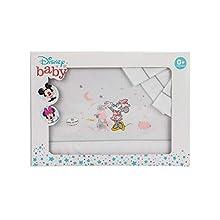 Interbaby MN003-18 - Sábanas Cuna Disney Minnie, Blanco y Gris