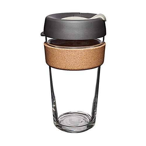 the KeepCup Brew Glass Reusable Coffee Cup with a black lid