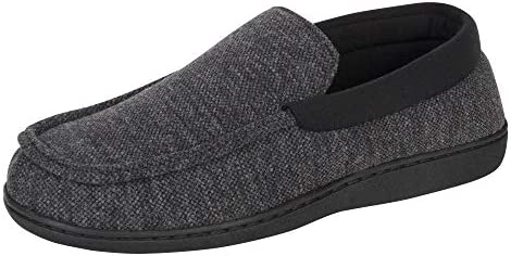 Hanes Mens Slippers House Shoes Moccasin Comfort Memory Foam Indoor Outdoor Fresh IQ Dark Black product image
