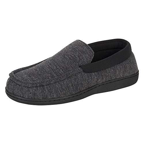 Hanes Mens Slippers House Shoes Moccasin Comfort Memory Foam Indoor Outdoor Fresh IQ, Dark Black, Large