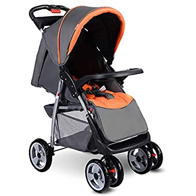 Costzon Baby Stroller, Foldable Infant Pushchair with 5-Point Safety Harness, Multi-Position Reclining Seat, Parent and Child Tray, Large Storage Basket, Suspension Wheels, Gray