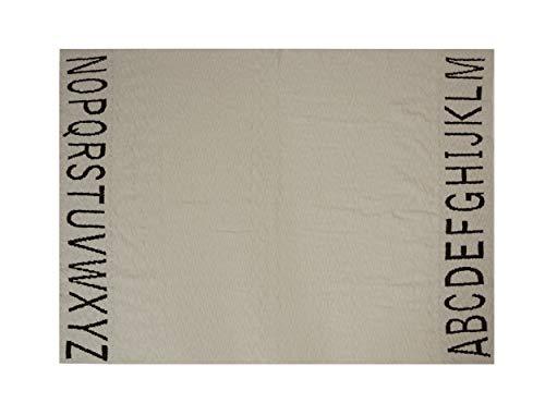 Lorena Canals Plaid Enfant ABC 100% Coton -Noir- Beige- 100x120 cm
