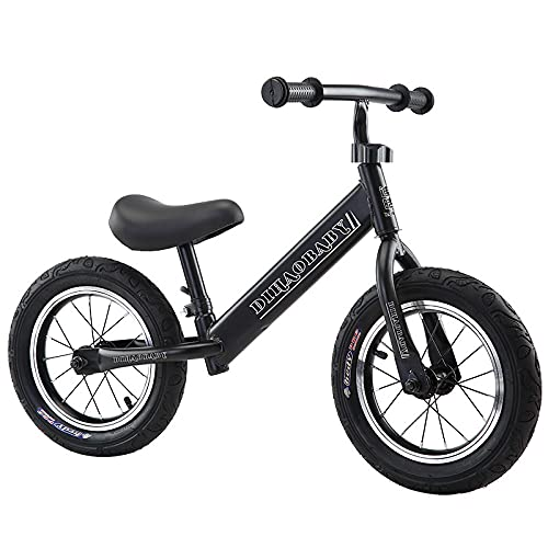 AMZYY Bicicleta de Equilibrio para Niños Sin Bicicleta,Black