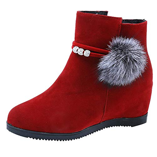 Londony ‿ 2018,Women's Side Zipper Suede Hairball Slip On Wedge Mid Rain Boot Ankle Boots Martin Shoes Red