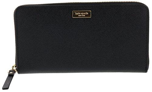 Kate Spade New York Laurel Way Neda Saffiano Leather Zip Around Wallet (Black)