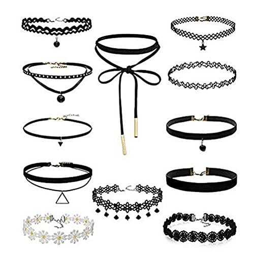 YIPUTONG Juego de Collares Gargantilla 1 Juego de Cadena de clavícula de Encaje Negro, Conjuntos de Joyas Simples góticas, Collar de Mujer, joyería para Mujeres y niñas