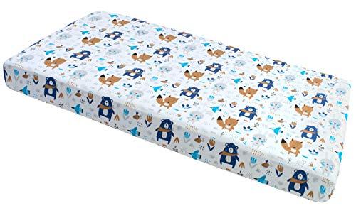 Sábanas de tela elástica 60x120cm 100% algodón ropa de cama para bebés Medi Partners colchón para bebés saco de dormir cuna (Boho Animales)