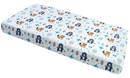 Spannbettlaken Spannbetttuch 60x120cm 100% Baumwolle Baby Bettwäsche Medi Partners Babymatratze schlafsack Kinderbett Babybett (Boho Animals)