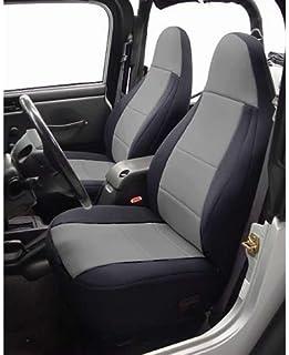 Coverking Custom Fit Seat Cover for Jeep Wrangler CJ 2-Door - (Neoprene, Black/Gray)