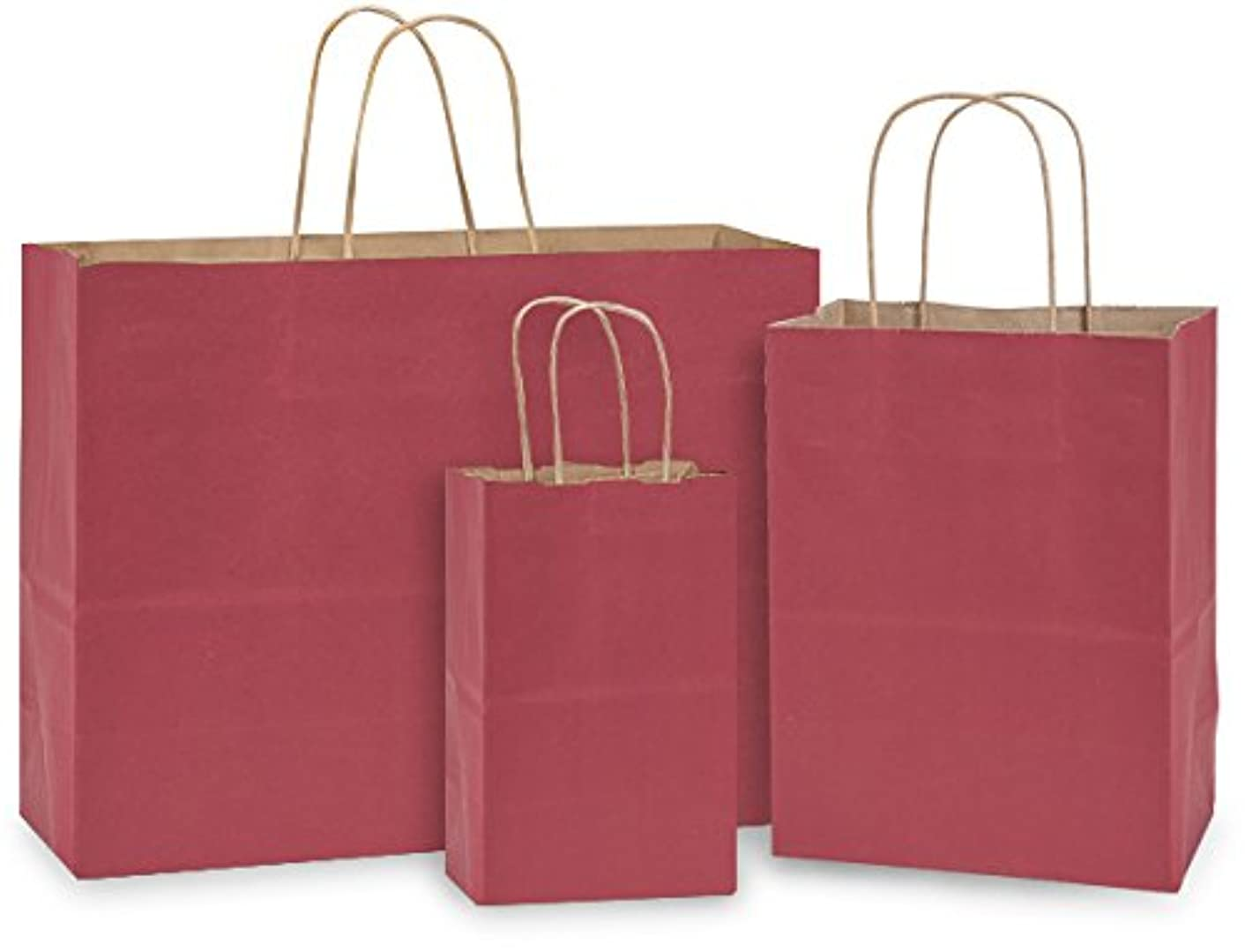 Pack Of 125, Christmas Red Natural Kraft Tint Bag W/Serrated Edge Tops & Sturdy Paper Twisted Handles Assortment 50 Rose, 50 Cub, 25 Vogue Made In USA