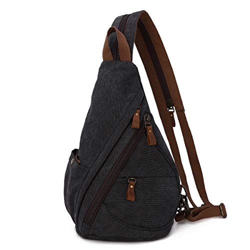 Canvas Sling Bag - Small Crossbody Backpack Shoulder Casual Daypack Rucksack for Men Women Outdoor Cycling Hiking Travel (6881-Black)