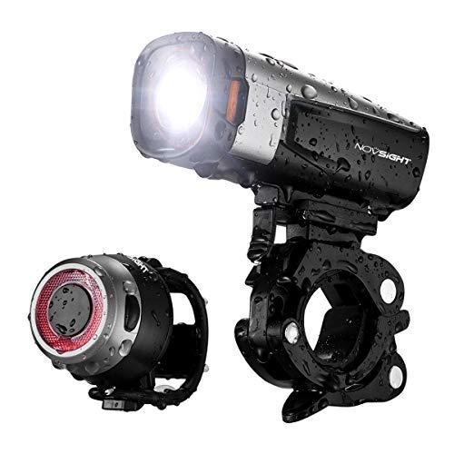 Novsight Bike Lights Set, LED 800 Lumens Headlight and Rear Light, Easy Installation for Mountain Bike and Commuter Bike, IP65 Waterproof, 2600 mAh Battery, 5 Light Models