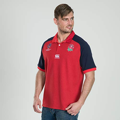 Canterbury of New Zealand Men's England World Cup 2019 Vapodri Alternate Rugby Jersey, Union Red Marl, Large