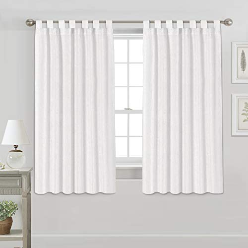Light Reducing Natural Linen Curtains for Living Room/Bedroom Privacy Assured Semi Sheer Textured Flax Curtain Draperies Light Filtering Soft and Durable, Tab Top 2 Panels (52' W x 63' L, Off White)