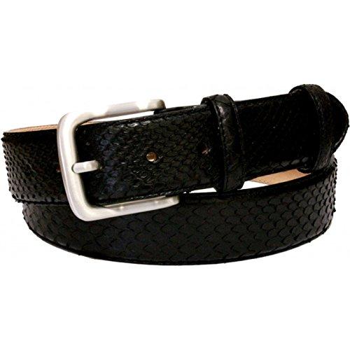 ESPERANTO Cintura In Pitone nero altezza 40 mm fodera in pelle Bovina naturale Fiore Nabuk (Tg 50- LUNG TOTALE 115 CM-GIROVITA 100 CM)