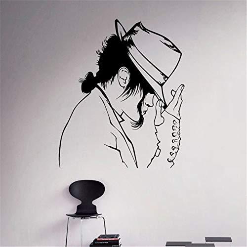 The King Of Pop Rock Music Super Star Sombrero de moda Michael Jackson Etiqueta de la pared Vinilo Calcomanía para autos Boy Fans Dormitorio Sala de estar Club Studio Decoración para el hogar Mur