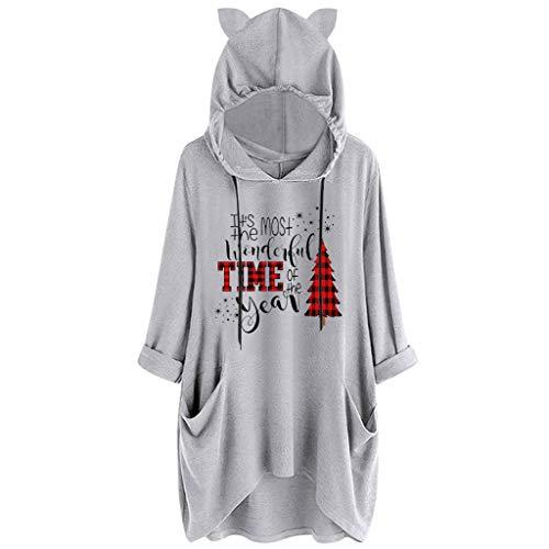 Hoodies FüR Frauen Casual Langarm Pullover Tops Damen Oversize Elegante Brief/Muster/Weihnachten Druck Katze Ohr Kapuzen Sweatshirt(Grau 3,5XL)