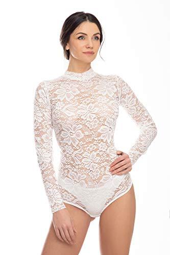 Evoni - Body de manga larga para mujer, de encaje transparente, con cierre beige M