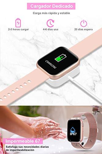 BANLVS Smartwatch Reloj Inteligente IP67 con Correa Reemplazable Pulsómetro, Monitor de Sueño, Presión Arterial, 1.4… 7