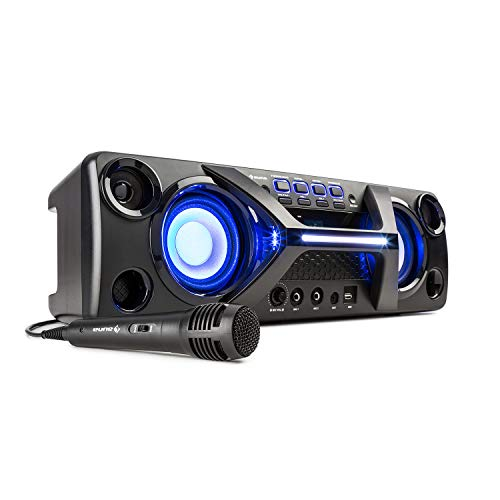 auna Ultrasonic BT Boombox - Max 80 W, Microfono Incluso, Bluetooth, 7 ore batteria, Radio FM, USB, LED da Discoteca, AUX-In