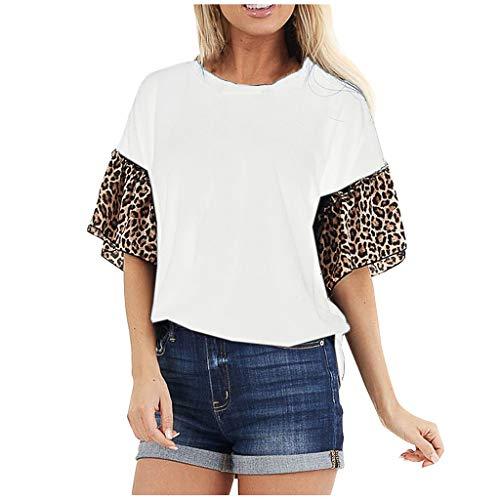 Dasongff Dames Ladies Contrast Tee T-shirt luipaard patchwork korte mouwen shirts modieus los zomer bovenstuk tops Medium wit