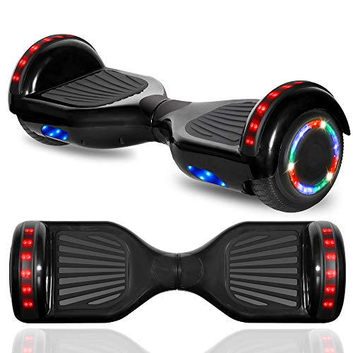 CHO POWER SPORTS Hoverboard Electric Self Balancing Scooter 6.5' Wheel with Built in Bluetooth Speaker LED Side Lights Kids Gift Safety Certified (_Black Chrome)